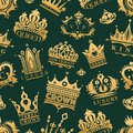 Gold Crown King Icons Set Nobility Collection Vintage Jewelry Sign Vector Illustration Seamless Pattern Background Stock Image - 101138871
