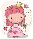 Cute Fairy-tale Princess And A Bird Stock Image - 101235921