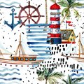 Summer Beach Seamless Pattern. Royalty Free Stock Images - 101283179