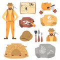 Archaeologist And Archeology Color Flat Icons Set Stock Photography - 101344402