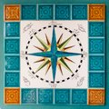 Rose Of The Winds And Cardinal Points Painted On Tiles In A Sail Stock Photo - 101385090