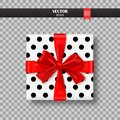 Decorative Gift Box With Red Bow And Ribbon. Vector Illustration. Royalty Free Stock Photo - 101421125