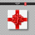 Decorative Gift Box With Red Bow And Ribbon. Vector Illustration. Stock Photography - 101421652