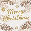 Merry Christmas Greeting Card. Winter Holiday Vector Background With Hand Drawn Fir Tree Royalty Free Stock Photo - 101456865