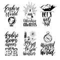 Vector Set Of Hand Lettering With Phrases About Traveling And Sketches Of Touristic Symbols. Stock Photography - 101487162