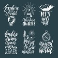 Vector Set Of Hand Lettering With Phrases About Traveling And Sketches Of Touristic Symbols. Stock Photos - 101487763