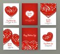 Set Of 6 Cards Or Banners For Valentine`s Day With Ornate Red Lo Stock Images - 101488454