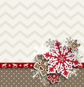 Abstract Christmas Background With Decorative Snowflakes And Chevron Pattern, Illustration Stock Photo - 101539000