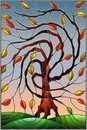 Stained Glass Illustration  With Autumn Willow Tree On Sky Background Royalty Free Stock Images - 101542099