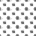 Cinema Tape, Film Reel And Clapperboard Vintage Seamless Pattern, Handdrawn Sketch, Retro Movie And Film Industry, Vector Illustra Stock Images - 101661514