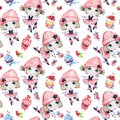 Watercolor Seamless Pattern. Ballet Girls With Sweet Cakes. Dancing Princesses. Teenager. Celebration Birthday Party Stock Images - 101673174