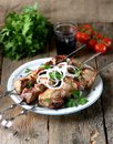 Home Shish Kebab From Pork On Skewers With Pickled Onion And Parsley On An Old Wooden Background. Royalty Free Stock Photos - 101692378