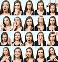 Collage Of Beautiful Girl With Different Facial Expressions Stock Photos - 101693393