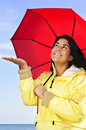 Beautiful Young Woman In Raincoat With Umbrella Stock Image - 10175821