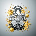 Vector Christmas And New Year Illustration With Typography And Cutout Paper Stars On Clean Background. Holiday Design Stock Images - 101702704