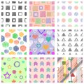 Set Of Seamless Vector Geometrical Patterns With Different Geometric Figures, Forms. Pastel Endless Background With Hand Drawn Tex Royalty Free Stock Photography - 101716327