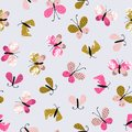 Abstract Vector Seamless Pattern For Textile With Butterflies. Cute Repeated Stylish Summer Background. Stock Image - 101750141