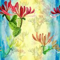 Honeysuckle - Medicinal, Perfumery And Cosmetic Plants. Watercolor. Seamless Pattern. Wallpaper. Flowers And Leaves. Stock Image - 101751361