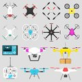 Vehicle Drone Quadcopter Vector Illustration Air Hovering Tool Remote Control Fly Camera. Royalty Free Stock Photos - 101755808