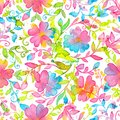 Happy And Bright Floral Seamless Pattern With Hand Drawn Watercolor Flowers And Leaves Stock Images - 101778754