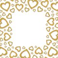 Frame Of Shiny Gold Metal Hearts. Glitter Powder Border For St.Valentine`s Day Stock Photos - 101859603