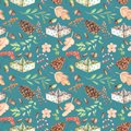 Seamless Autumn Pattern With Watercolor Fir Cones, Paper Boats, Rowan Tree Branches And Berries, Oak Acorns Royalty Free Stock Photo - 101926725