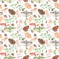 Seamless Autumn Pattern With Watercolor Fir Cones, Paper Boats, Rowan Tree Branches And Berries, Oak Acorns Royalty Free Stock Photo - 101926735