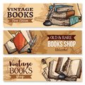 Old Book With Feather Pen And Inkwell Banner Set Stock Photography - 101936112