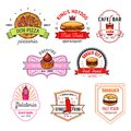 Fast Food Cafe, Pizzeria, Pastry Shop Badge Set Royalty Free Stock Photography - 101936377