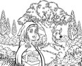 Fairytale Little Red Riding Hood Coloring Scene Stock Photography - 101991572