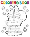Coloring Book Chimney With Santa Claus Stock Image - 102012321