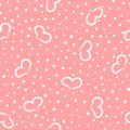 Lovely Romantic Seamless Pattern. Repeated Hearts And Round Dots Drawn By Hand. Royalty Free Stock Photos - 102021968