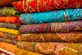 Close Up Of Indian Traditional Women Sari Clothing On Market. Buying Wedding Sari In Jaipur. Colorful Beautiful Sari Stock Photo - 102039460