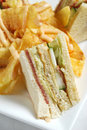 Clubhouse Sandwich With Potato Chips Stock Photo - 10213520