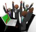 Business Team Cheers Growth Arrow Laptop Stock Photo - 10213600