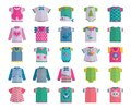Vector Flat Baby Infant Clothes Textile Icon Set Design Casual Fabric Colorful Dress Child Garment Wear Illustration T Royalty Free Stock Photos - 102117708