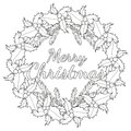 Merry Christmas Black And White Poster With Holly Berries And Tree Branches. Stock Photo - 102150160