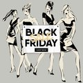 Black Friday Sale Banner With Fashion Girls, Beautiful Woman Models Social Media Ads Web Template Collection. Vector Illustration Royalty Free Stock Photography - 102205707
