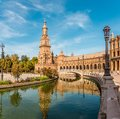 North Tower With Reflection In River At The Place Of Espana In Sevilla, Spain Stock Image - 102318081