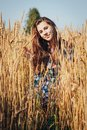Teenager Girl In A Field Full Of Yellow Ears Royalty Free Stock Images - 102331809