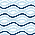 Simple Seamless Pattern With Wave Blue Stripes. Royalty Free Stock Photos - 102353008
