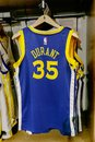 Replica Jersey Of Kevin Durant Of Golden State Warriors Stock Photography - 102368042