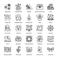Christmas, New Year Flat Line Icons. Winter Holidays - Christmas Tree Gift, Snowman, Santa Claus, Fireworks, Angel Royalty Free Stock Images - 102385169