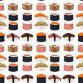 Sushi Rolls Sashimi Seafood Fish Rice Seamless Pattern Background Japanese Food Fresh Soy Sauce Japan Meal Maki Raw Stock Photo - 102463040