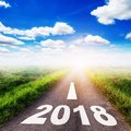 Number Of 2018 For New Year Concept On Country Road, Field And B Royalty Free Stock Photos - 102481528