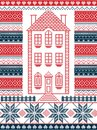 Nordic Style And Inspired By Scandinavian Christmas Pattern Illustration In Cross Stitch With Gingerbread House Royalty Free Stock Photos - 102529048
