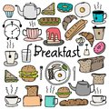 Hand Drawn Doodle Vector Breakfast Set. Royalty Free Stock Image - 102638076