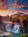 Waterfall Sunset At Sumer Time Royalty Free Stock Photo - 102685825