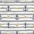 Striped Pattern Marine. Anchors And Hearts Royalty Free Stock Photo - 102766105