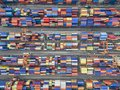 Aerial Top View Container In Port Warehouse Waiting For Export . Stock Photography - 102833322